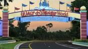 Un anuncio identifica la entrada a Walt Disney World Resort, donde los sueños se hacen realidad