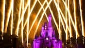 Cinderella Castle lit up in purple with fireworks blasting skyward