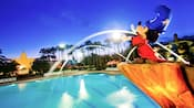 Statue of Sorcerer Mickey standing over Fantasia Pool at Disney's All-Star Movie Resort