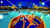 The Three Caballeros in pool at Disney's All-Star Music Resort
