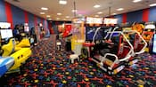 2 NASCAR video racing games in an arcade at Disney's All-Star Sports Resort