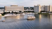 Bird's-eye view of Disney's Contemporary Resort and Bay Lake Tower