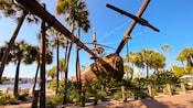 The shipwreck-themed waterslide at Stormalong Bay at Disney's Beach Club Resort