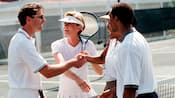 Shaking hands after a doubles match of tennis