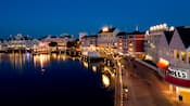 Disney's BoardWalk Villas and Crescent Lake, lit up at night