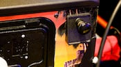 Close-up of a pull handle on a pinball machine