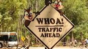 Un cartel al costado de la carretera con Chip 'n' Dale que advierte a los Huéspedes sobre el tráfico en Disney's Fort Wilderness Resort