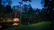 Campsite at Disney's Fort Wilderness Resort, lit up at night