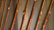 Close-up of 8 bamboo fishing poles