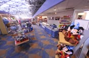 A merchandise shop called 'Fantasia' in the lobby with a giant not-so Hidden Mickey structure