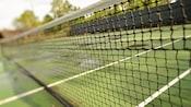 Close-up of a net on a tennis court