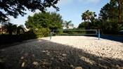Terrain de volleyball de sable blanc avec un filet bleu