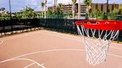 Vista desde la parte superior de un aro de baloncesto