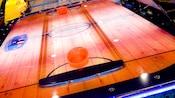 Close-up of an air hockey table