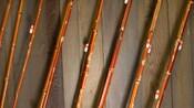 Close-up of 8 bamboo fishing poles