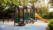 A kids' climbing apparatus on a playground at Disney's Pop Century Resort