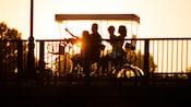 A family enjoying a sunset ride on a surrey bike