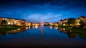 A fountain in the middle of the lake at Disney's Saratoga Springs Resort and Spa