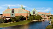 View of the Walt Disney World Swan Resort and the surrounding lakeside grounds