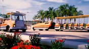 Parking lot tram back-dropped by palm trees at Walt Disney World Resort