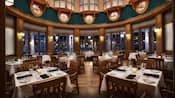 Área de refeições do Yachtsman Steakhouse no Disney's Yacht Club Resort