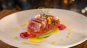 Yellowfin Tuna with compressed watermelon, citrus epaulette, black Cyprus sea salt and avocado
