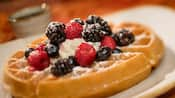 A waffle topped with blueberries, raspberries, blackberries, whipped cream and powdered sugar
