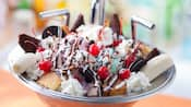 A bowl in the shape of a kitchen sink filled with ice cream, cookies, candy, cake, whipped cream and fruit