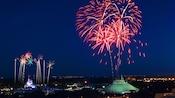 Fireworks bursting in the night sky above Magic Kingdom park