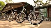 4vélos alignés devant une boutique de location de vélos