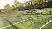 Gros plan sur un filet de tennis et son terrain en arrière-plan