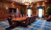 A boardroom with leather chairs, a long table, 2 windows, a chandelier, a TV and indoor plants