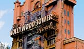 An outside view of The Twilight Zone Tower of Terror attraction