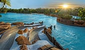The sun setting over Typhoon Lagoon Water Park