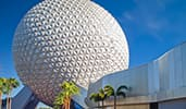 A close up view of Epcots Spaceship Earth