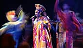 Performers wearing colorful costumes at the Festival of the Lion King show