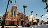 An old fashioned car by the movie theater on Sunset Boulevard in Hollywood Studios