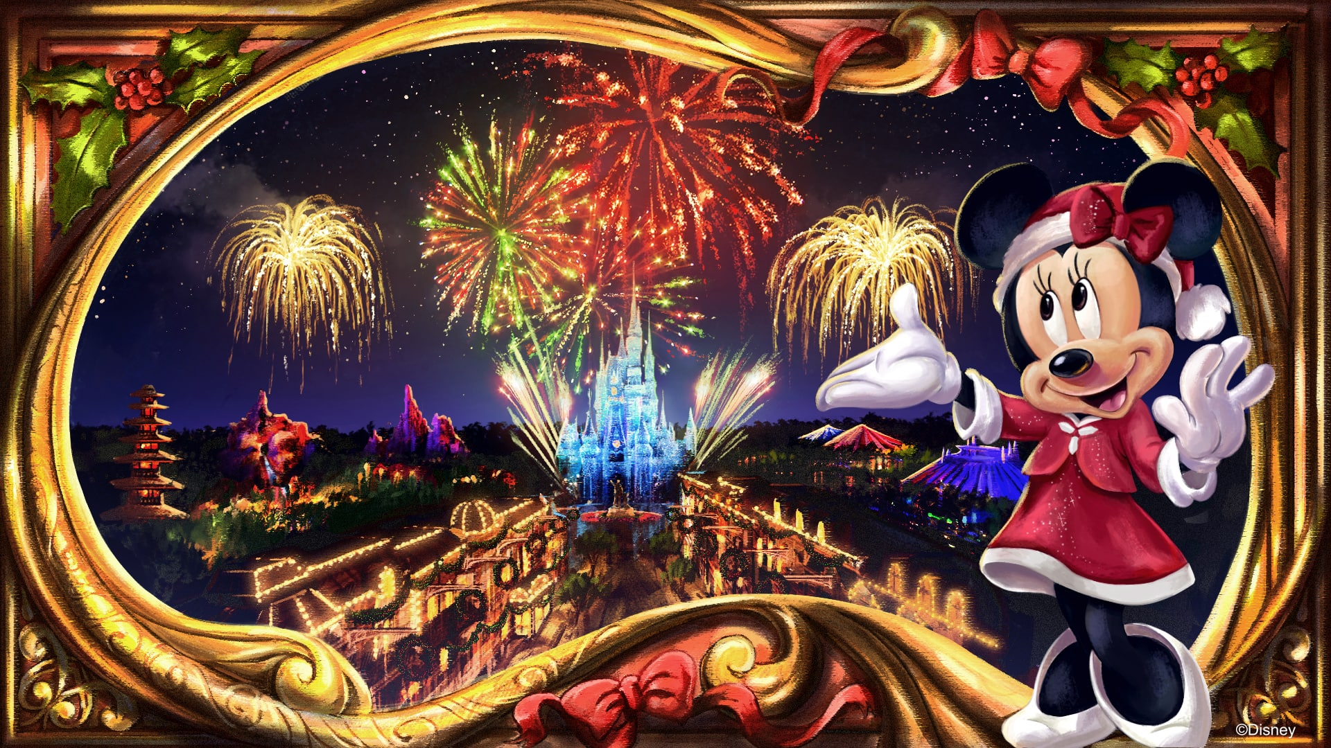 minnie christmastime fireworks
