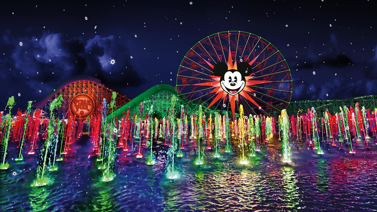The fountains, lasers and projections at the World of Color nighttime spectacular light up the night sky