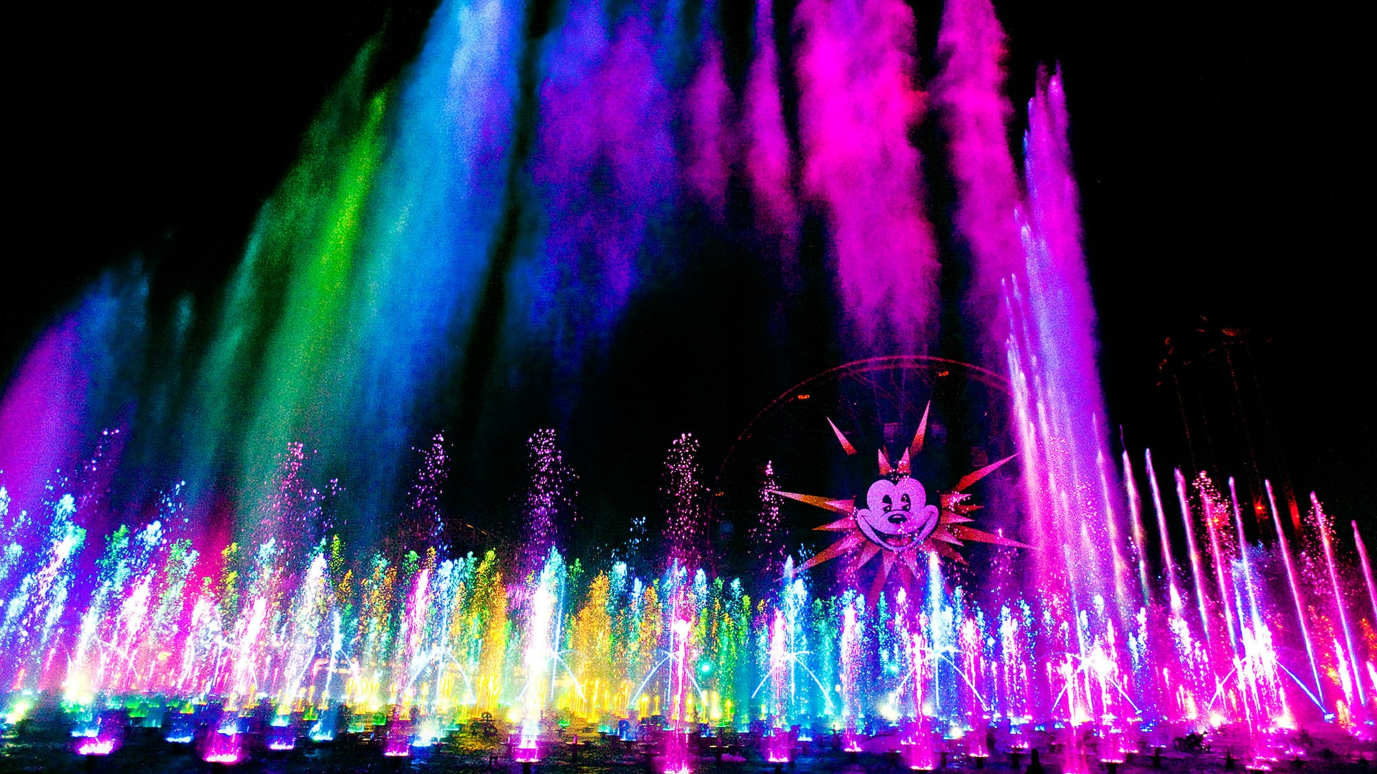 World of Color fountains and colored mist