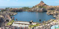 The Mediterranean Harbor with the Fortress and Mount Prometheus volcano at Tokyo DisneySea