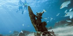 Two snorkelers look down at a school of fish swimming near an underwater statue of Mickey Mouse and a ship's wheel that are resting on the bottom of the sea