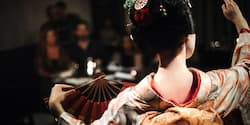 The back of a Japanese maiko in traditional dress, who is dancing with a fan in front of an audience
