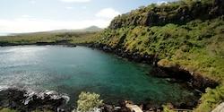 Pristine lagoon below Frigate Hill on San Cristobal Island