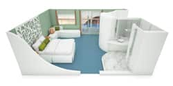 A model of a Legend balcony suite room, featuring a bed, an L-shaped sitting module, windows, and bathroom