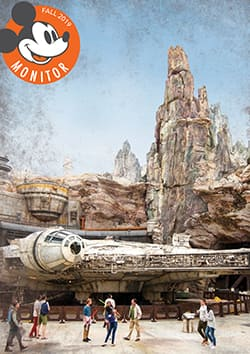 The cover of the Fall 2019 Mickey Monitor featuring a group of people walking past the Millennium Falcon at Star Wars: Galaxy's Edge with a series of symbols at the bottom of the page