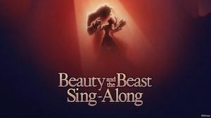 """Una imagen de Belle y Beast bailando sobre el texto """"Beauty and the Beast Sing Along"""""""