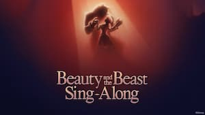An image of Belle and the Beast dancing above the words 'Beauty and the Beast Sing Along'