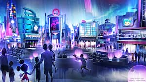 Concept art of a family standing with Mickey Mouse, looking at a modernistic city