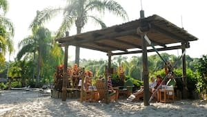 Des visiteurs sont assis sur des chaises longues de plage à l'intérieur d'une cabane en bois en plein air
